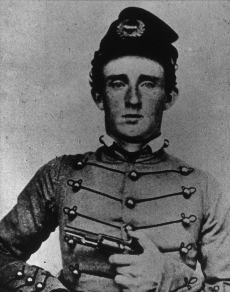 Portrait of George Armstrong Custer in West Point cadet's uniform in 1861