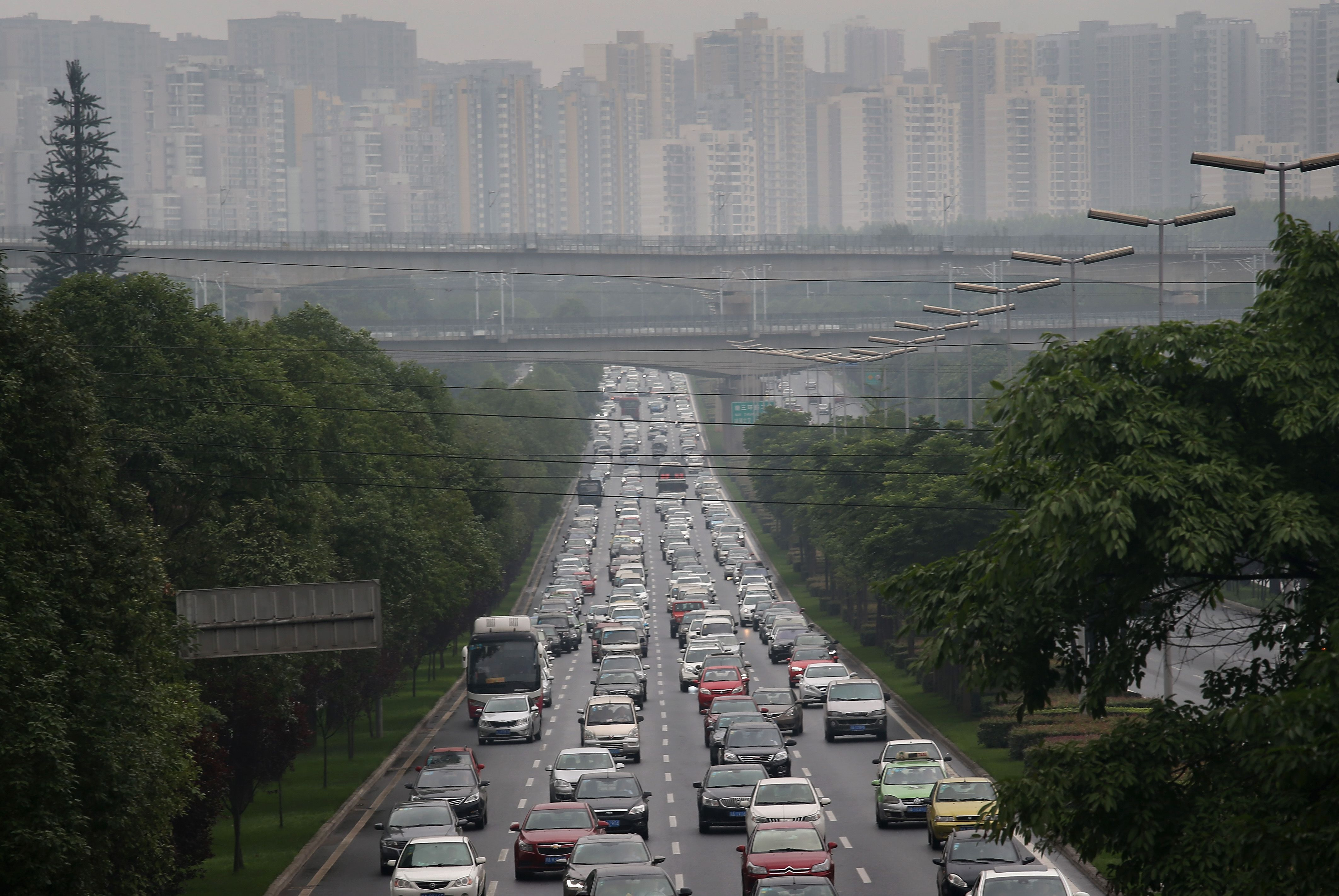 Pollution and traffic are part of the life in Chengdu, China in 2015