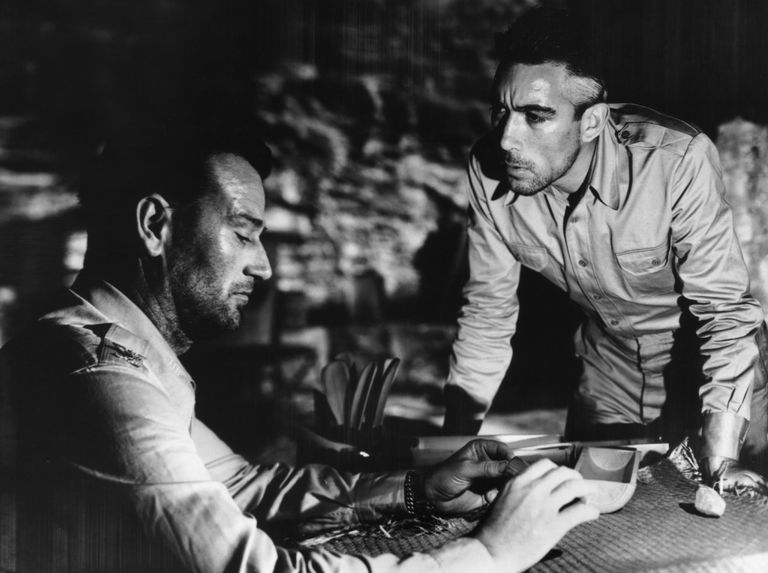 John Wayne and Anthony Quinn in Back to Bataan