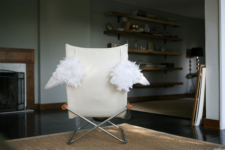 angel wings on chair in home