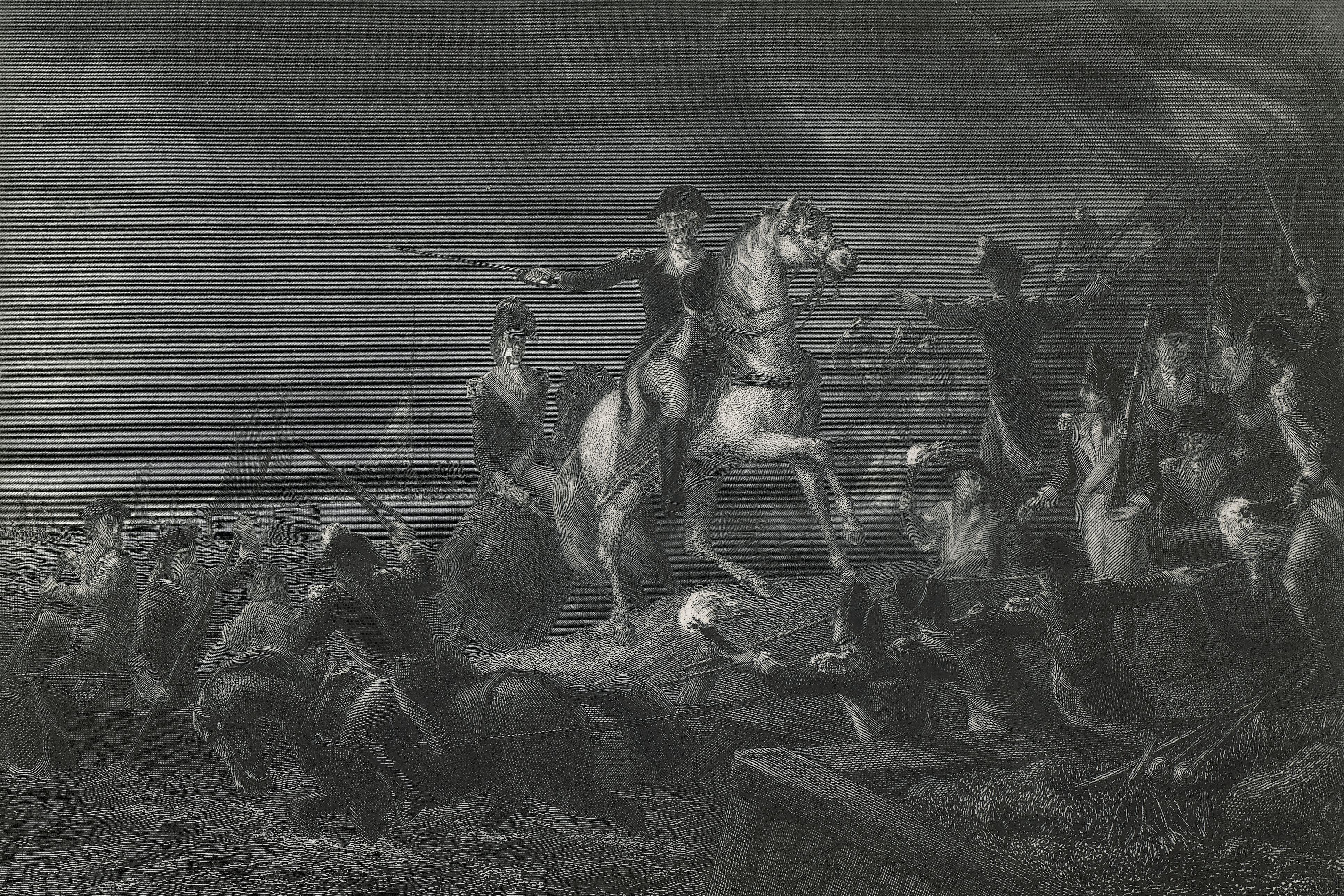 George Washingtons retreat to Long Island, August 27, 1776, American Revolutionary War, United States of America, 18th century