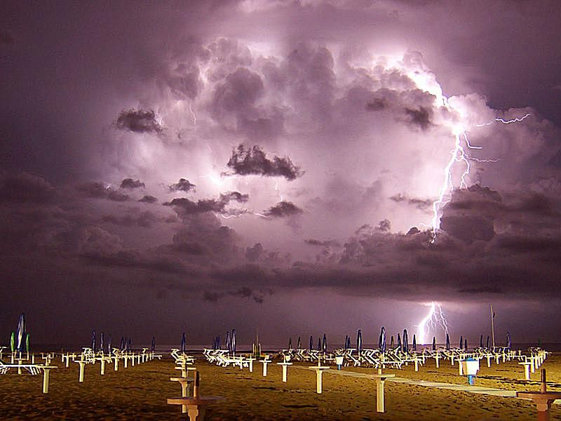 Lightning over Miramare di Rimini, Italy.