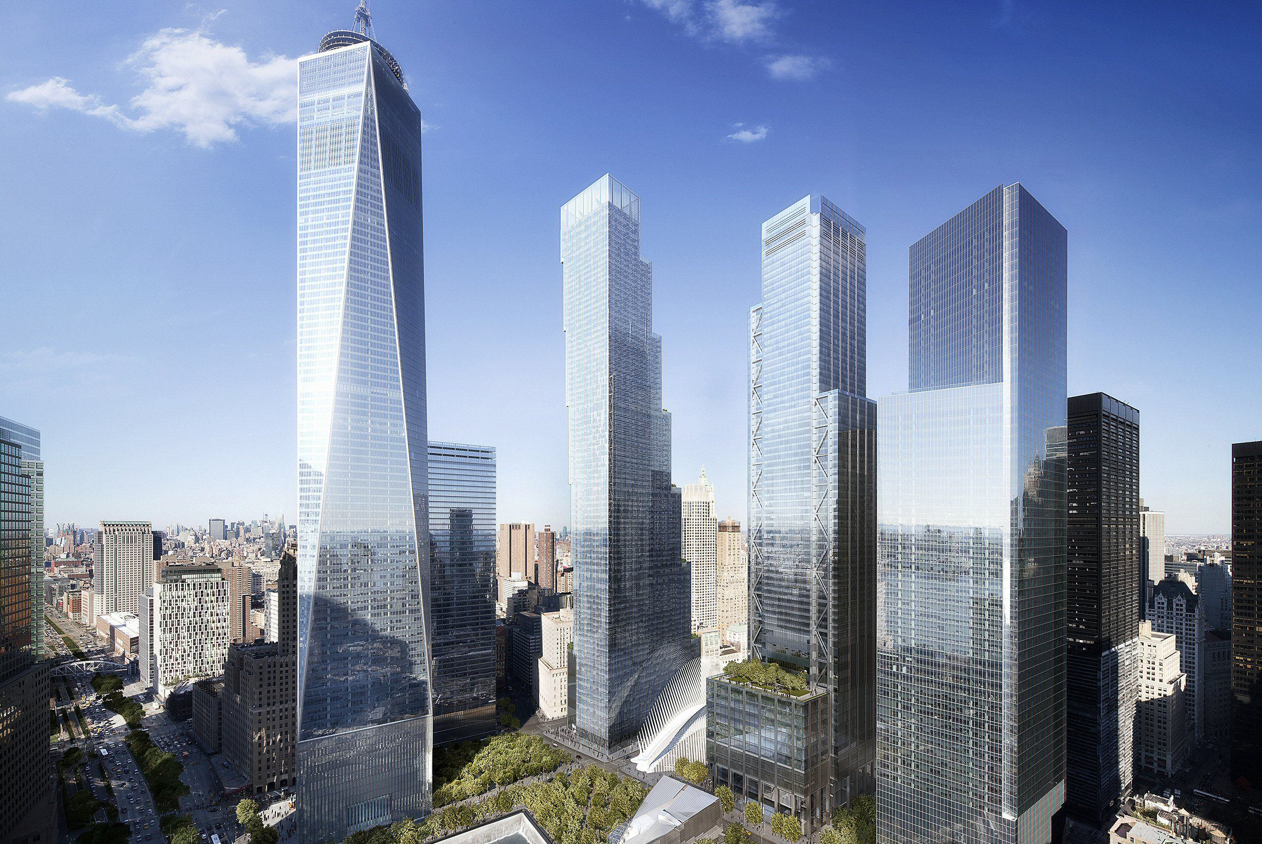 architect's rendering of how four skyscrapers would surround the 9/11 memorial park
