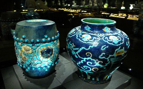 Qing Dynasty Blue Ceramics on display at a museum.