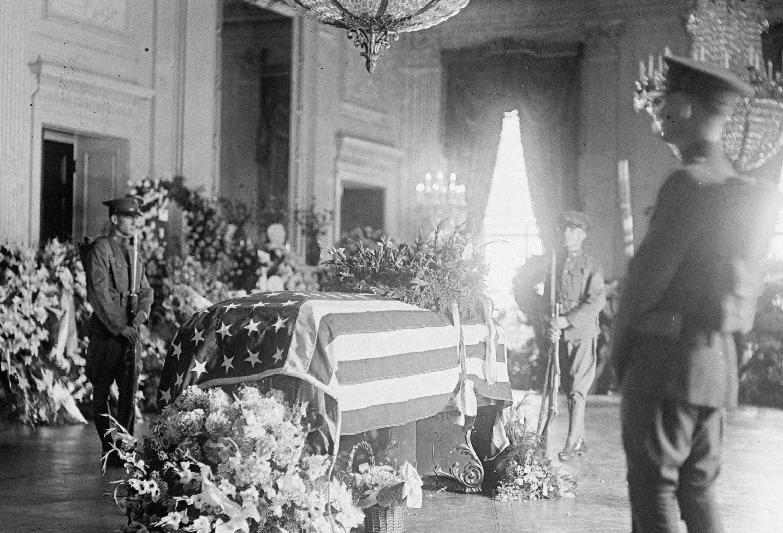 President Harding's casket in the White House