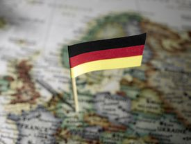 German flag on a map