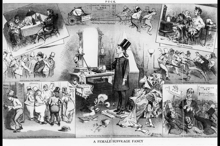 "Cartoon imagining the ""fancies"" of a women's suffrage worker"
