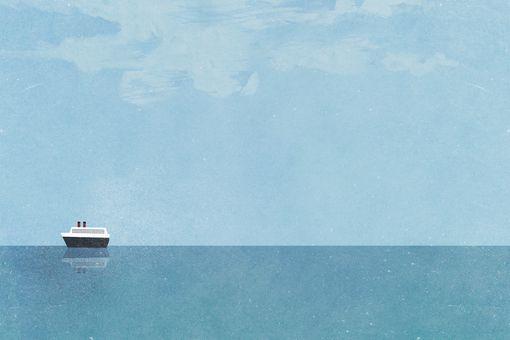 Cruise ship moving on sea against blue sky