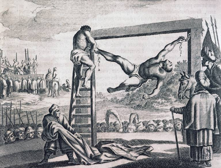 Punishment of enslaved people, Muslim custom, engraving from Description of Africa, by Olfert Dapper (circa 1635-1689), 1686, Africa, 17th century