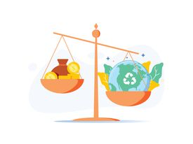 Scale with wealth and cash money on a plate and people world, environment on the other, balancing business profits.