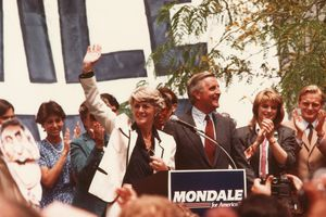Ferraro and Mondale Campaigning