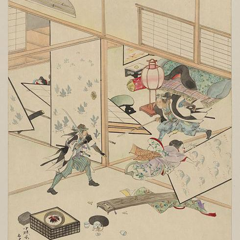 A homeowner defends his household from an attacking samurai warrior, Japan, c. 1750-1850.