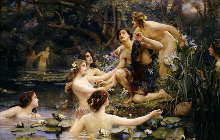 Full color painting of water nymphs frolicking.