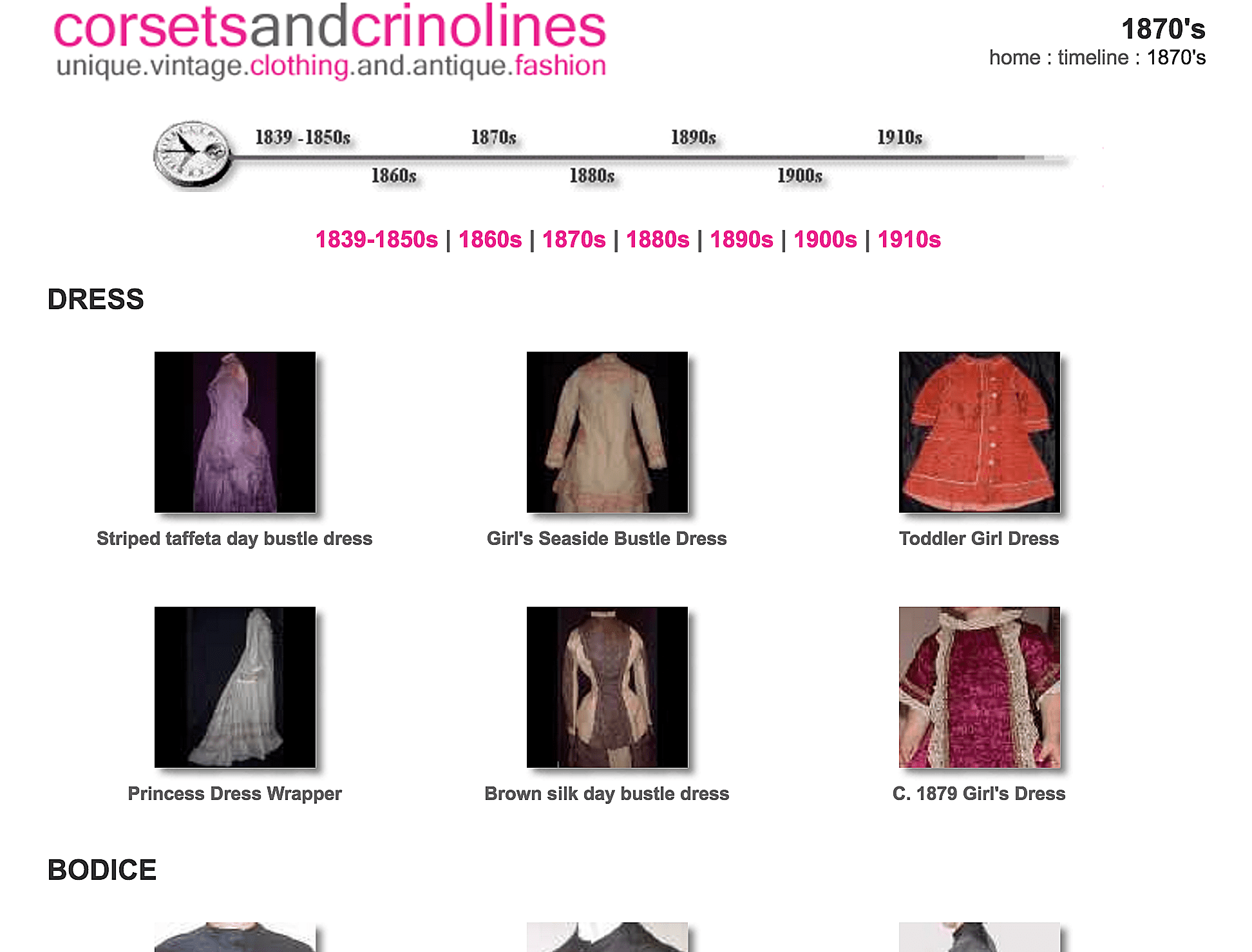 The website Corsets and Crinolines features a fashion timeline of dress, bodices, skirts, outerwear, shoes, hats, underwear and accessories.