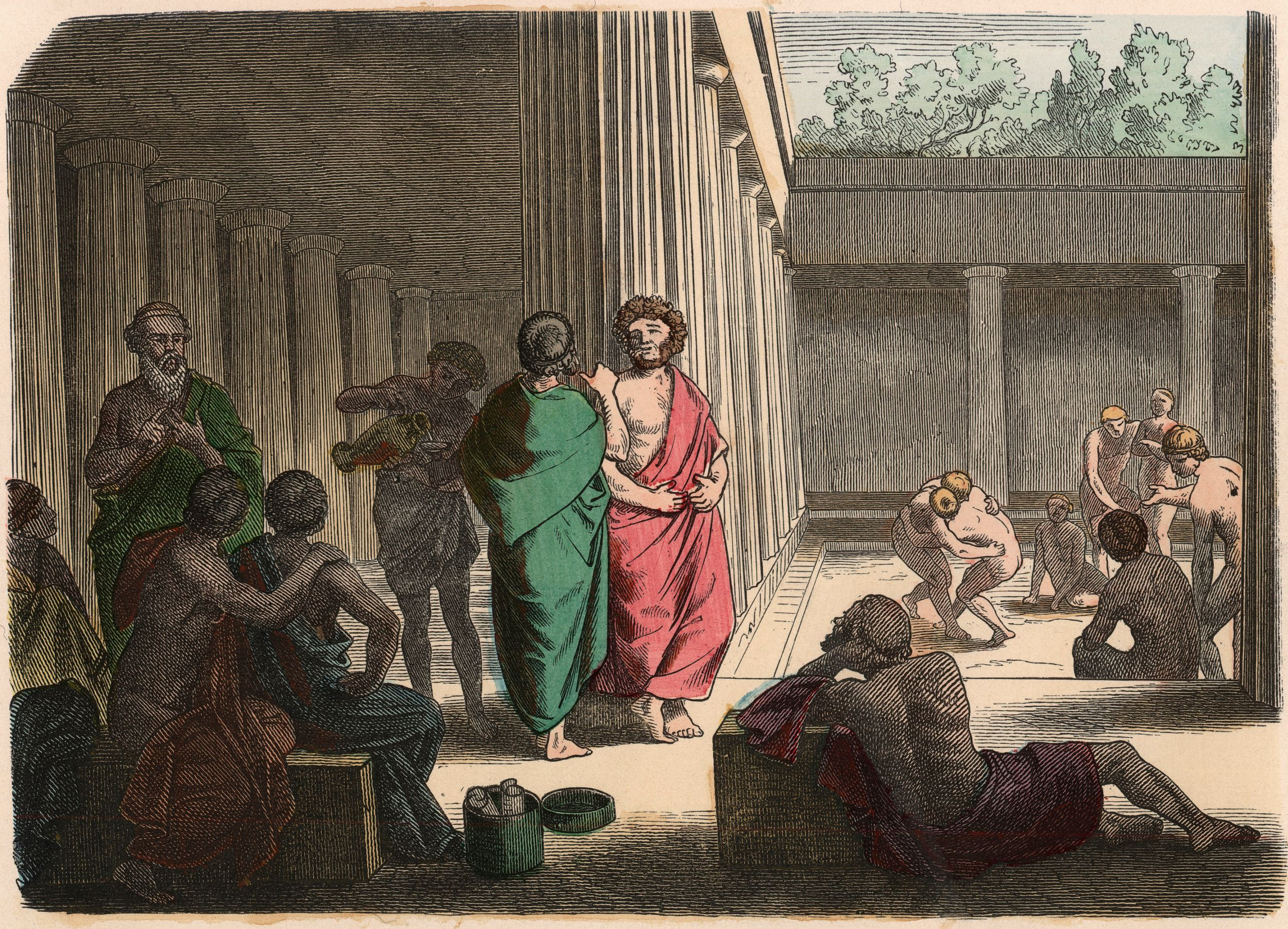 Ancient Greece: In the Gymnasium. Platonists, epicurians, cynics and wrestlers - Coloured engraving by Heinrich Leutemann (1824-1905)
