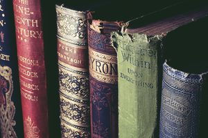 Collection of old, classic books on a shelf.