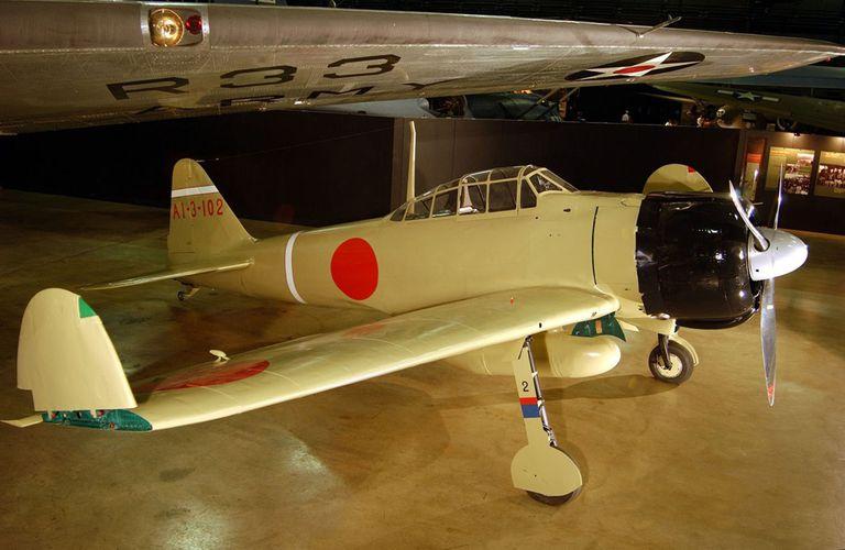 Mitsubishi A6M Zero inside a museum.