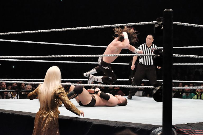 Wrestlers The Miz vs Dolph Ziggler (long hair) are performing during 'WLIVE REVENGE'