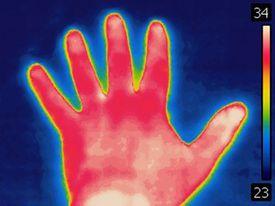 Thermal image of human hand