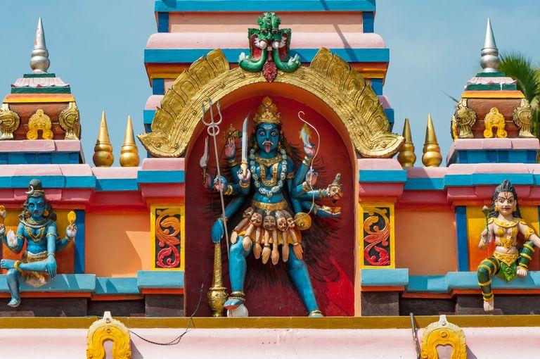 Kali goddess on temple, Varkala, Kerala, India