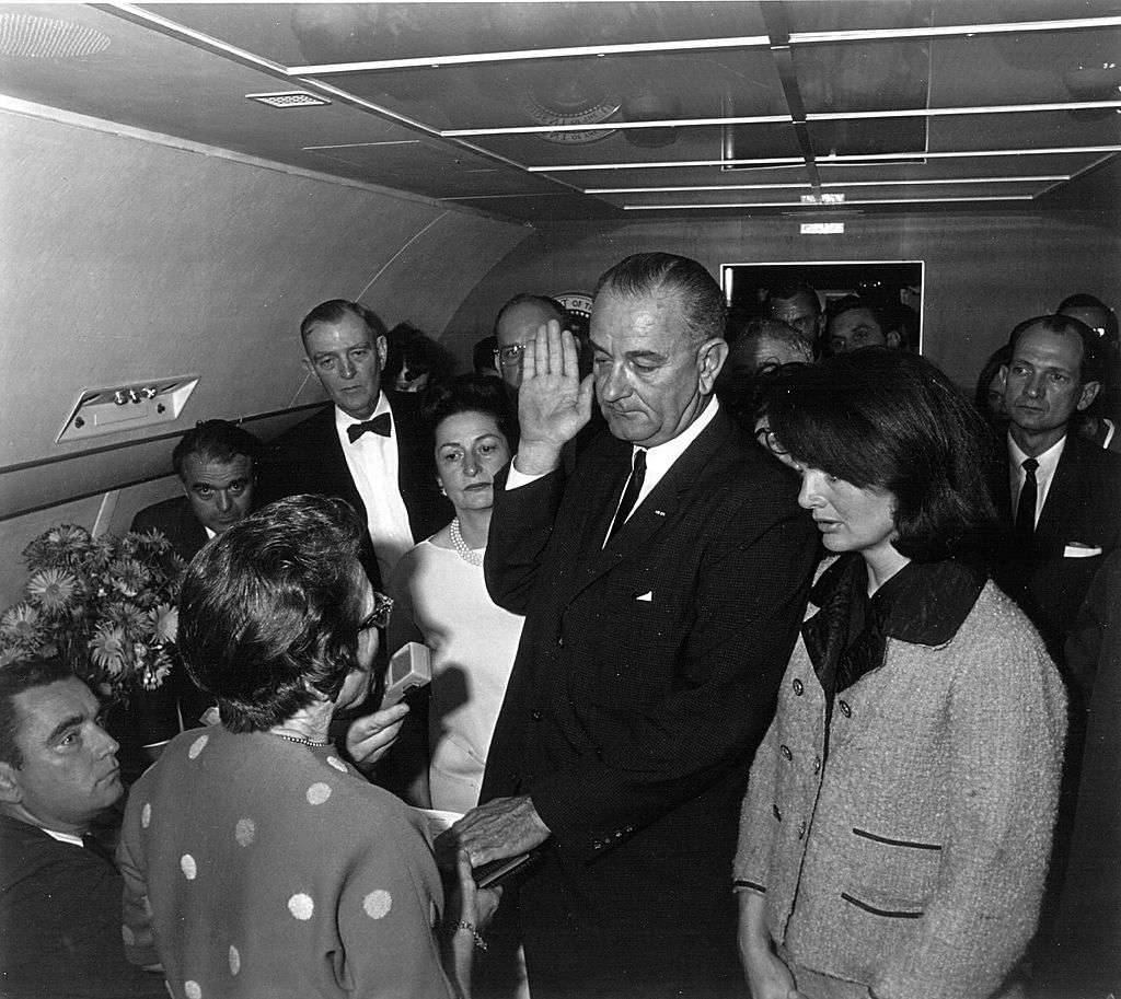 Lyndon B. Johnson is sworn in on Air Force One