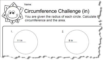 Circumference Worksheet # 1