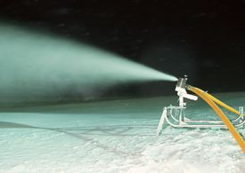 Snow making equipment and a spray of snow