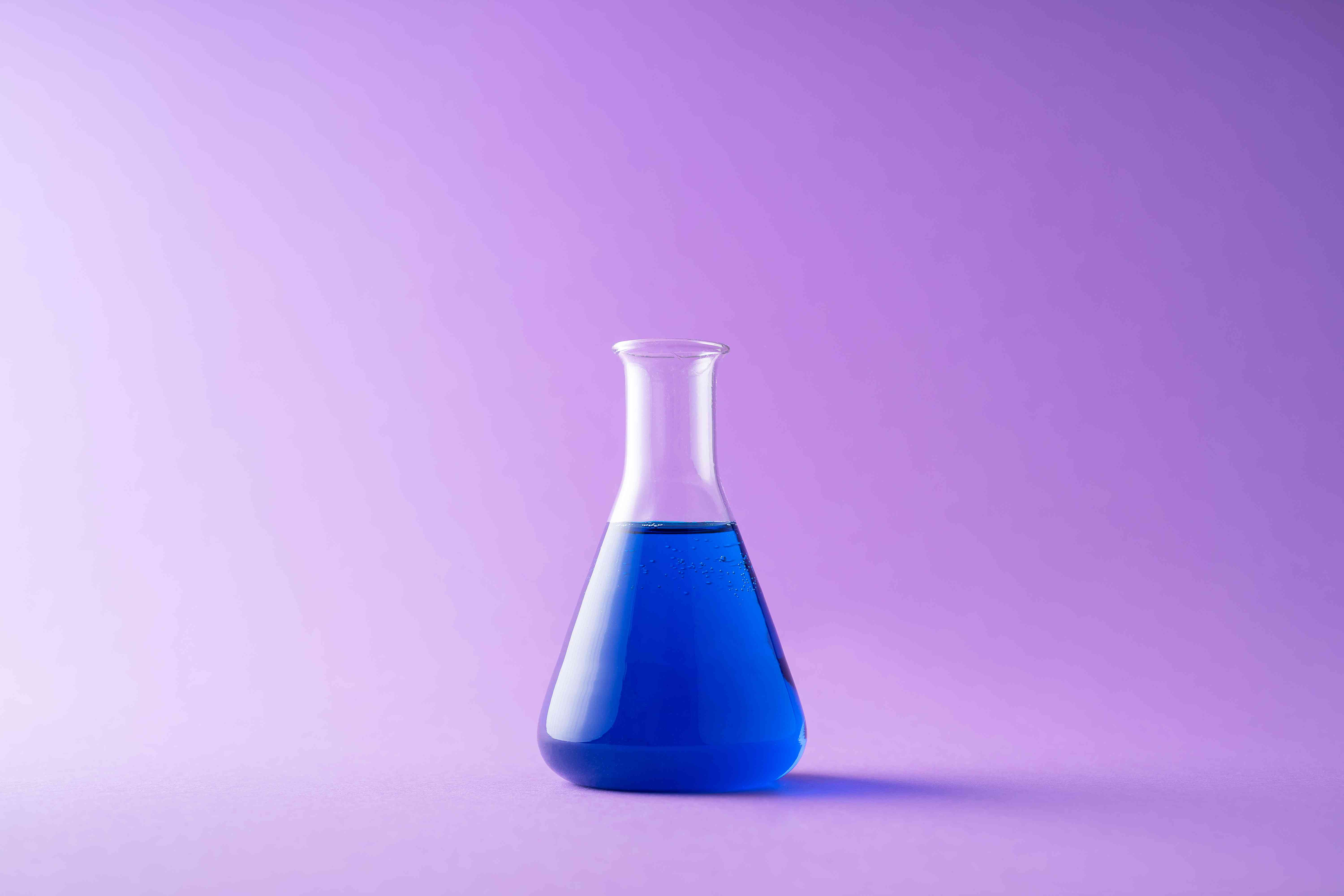 A flask with blue liquid