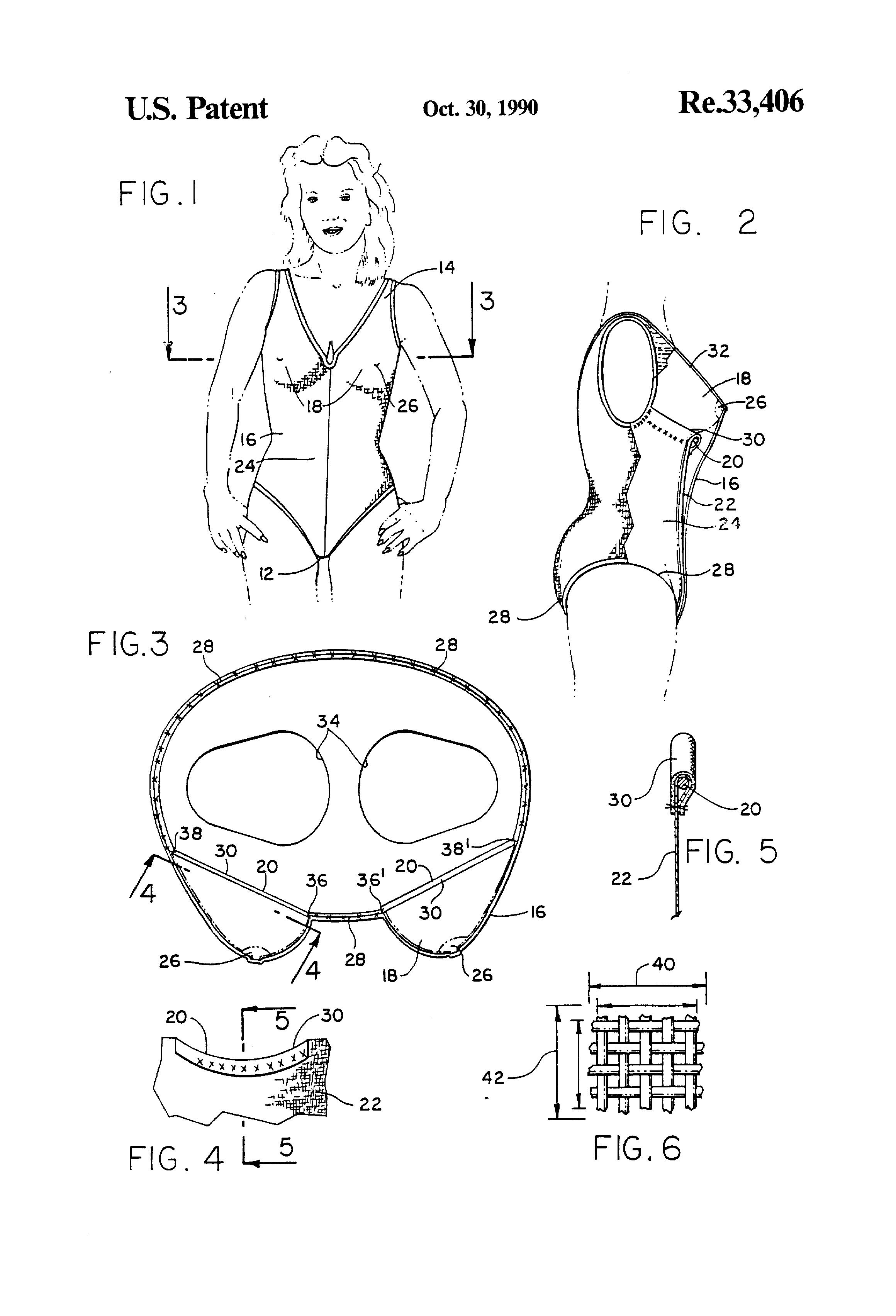 Patent Drawing: Carol Wior Slimsuit - US Patent #RE33406