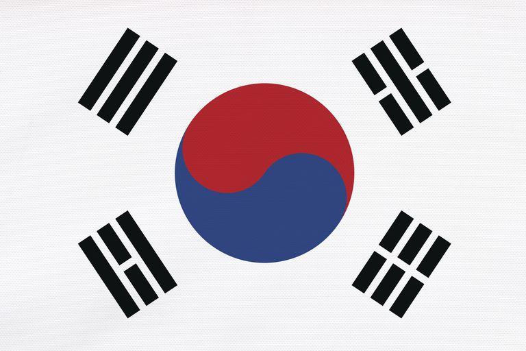 Flag of South Korea, close-up, full frame