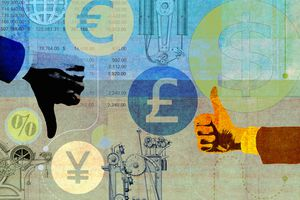 Collage of uncertainty forecasting global currency
