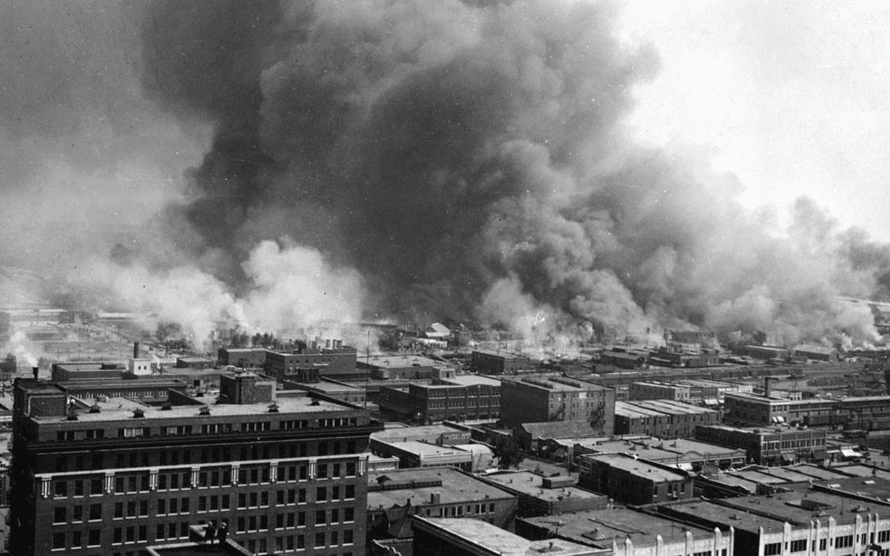 Destruction from the 1921 Tulsa race massacre.