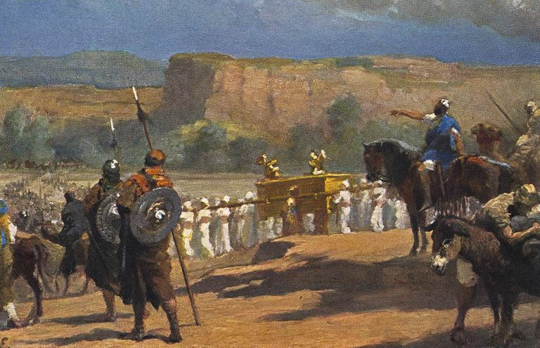 The Siege of Jericho - painting of the scene from the Bible in Joshua, chapter 3, verse 17, showing Israelites with the Ark of the Covenant marching.