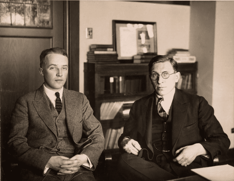Co-Discoverers of insulin Frank Grant Banting (right) and Charles H. Best, ca. 1924
