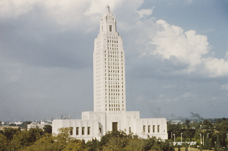 Art Deco ziggurats form the Louisiana State Capitol built in 1932, Baton Rouge, LA