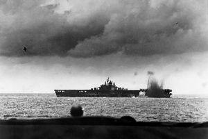 Carrier USS Bunker Hill under attack