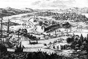 Engraving of the fortified settlement of Charleston, South Carolina, 1673