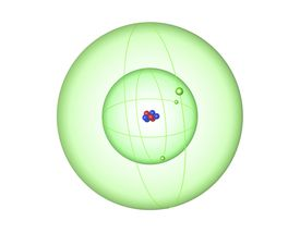Each atom of atomic number 3 has three protons. Lithium may have a different number of neutrons and electrons, depending on the isotope or ion.