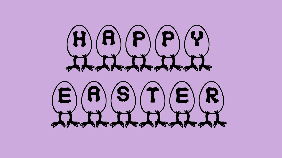Happy Easter in RM Egg font