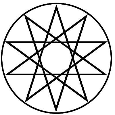 Decagram from overlapping pentagrams