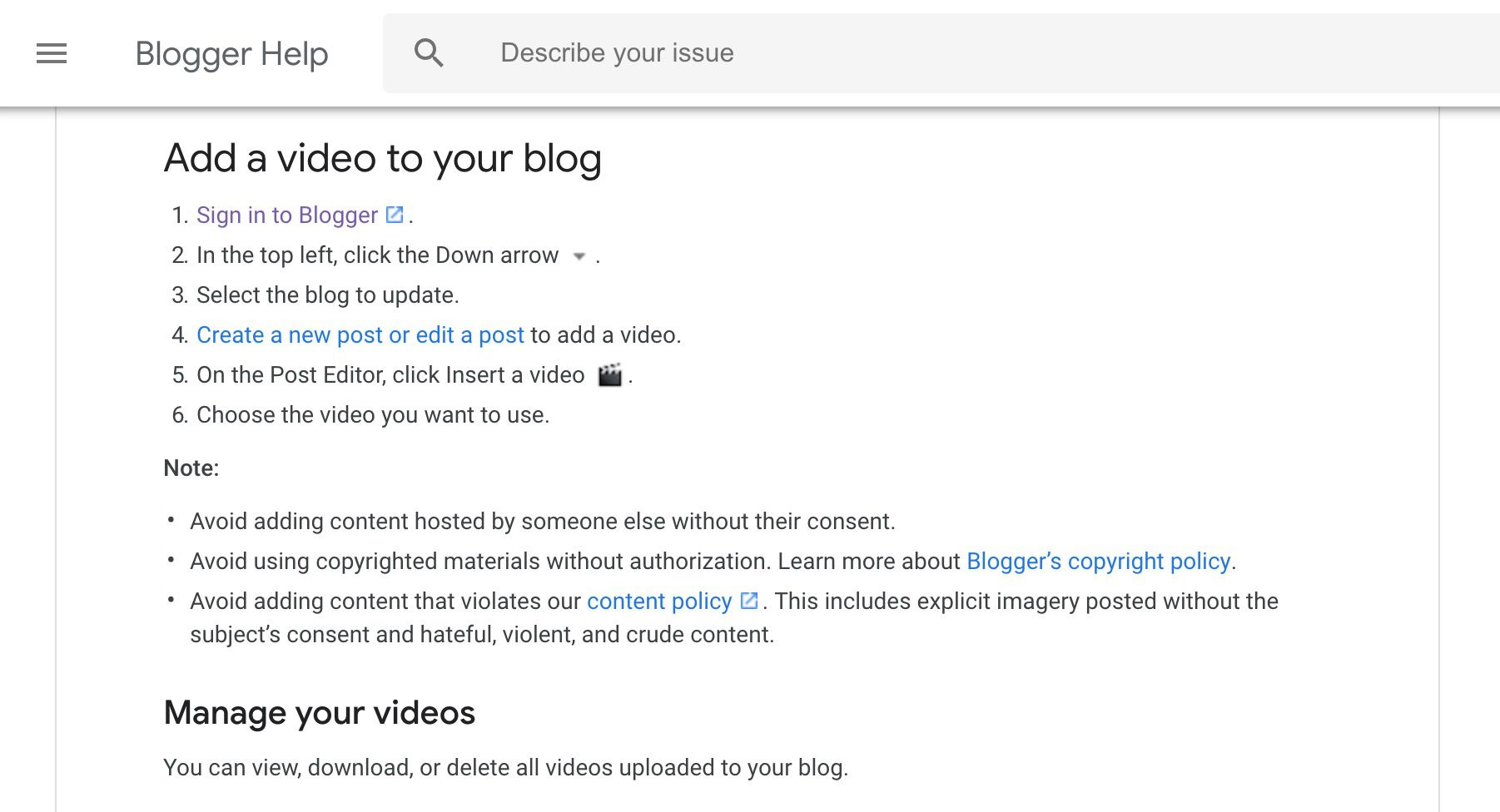 Blogger help page on adding video to your blog