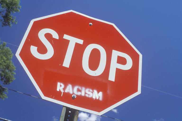 Stop sign with -racism+ added