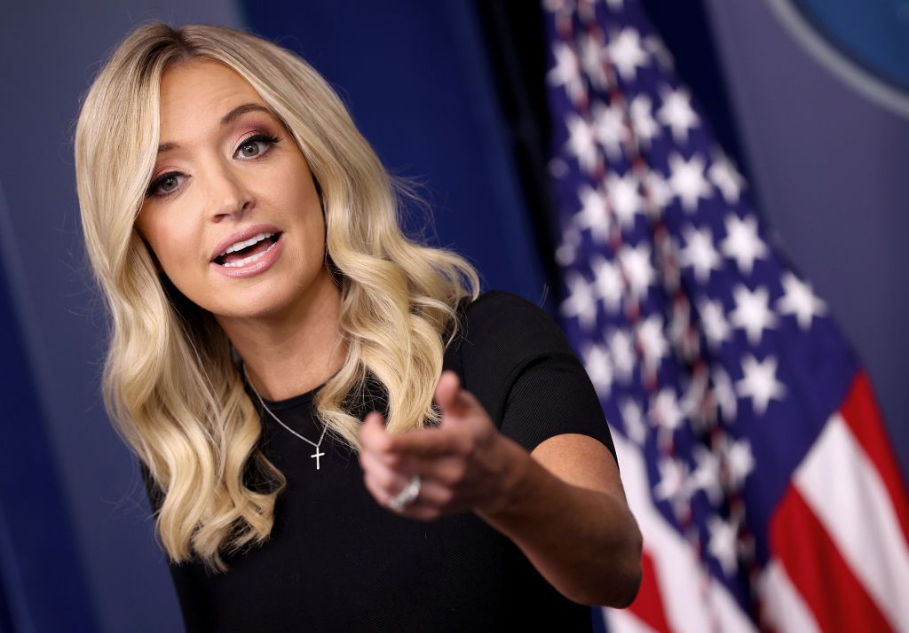 White House press secretary Kayleigh McEnany answers questions during the daily briefing at the White House.