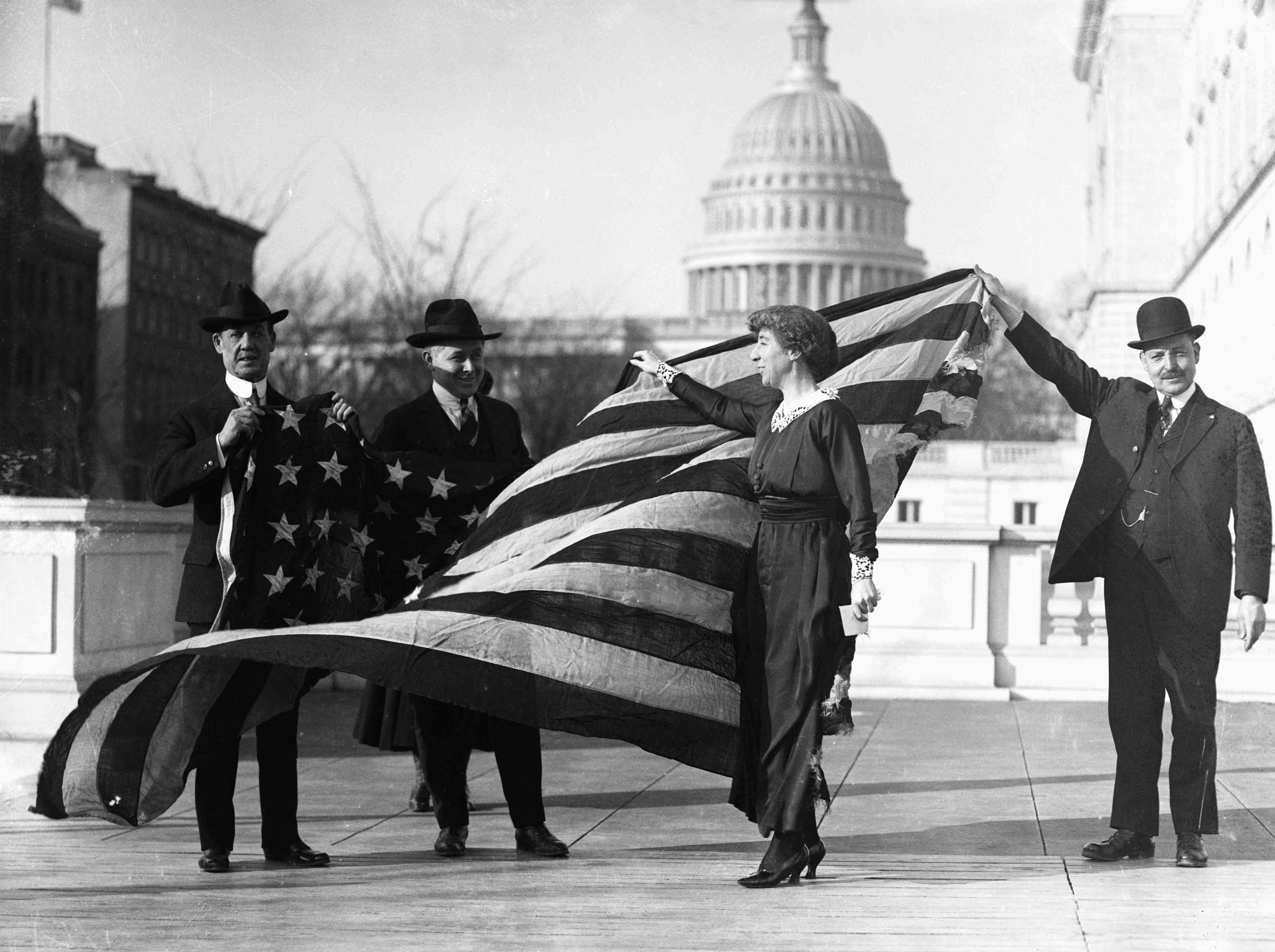 Jeannette Rankin with American Flag