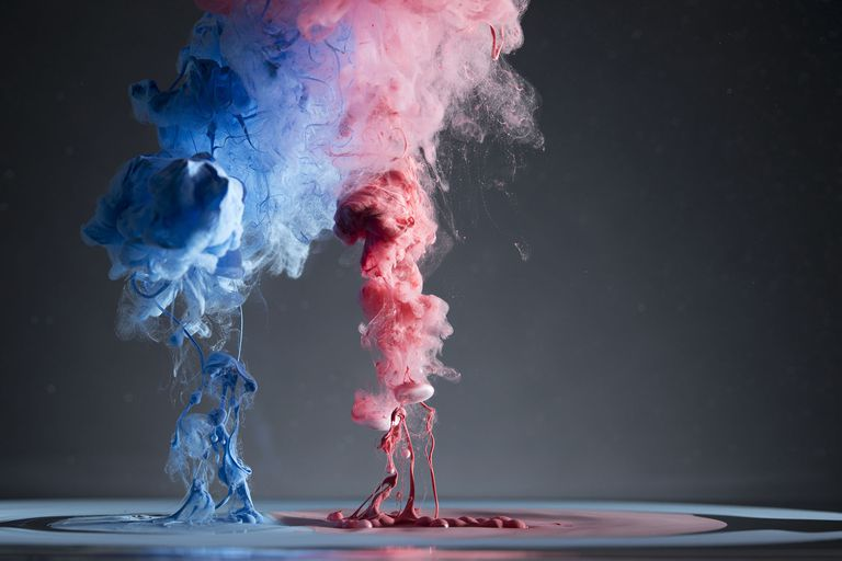 Contrasting Creative Red and Blue Liquid Smoke Merging