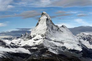 Matterhorn against blue sky and clouds