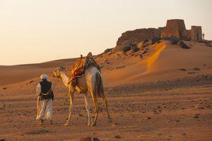 man walks with camel in desert