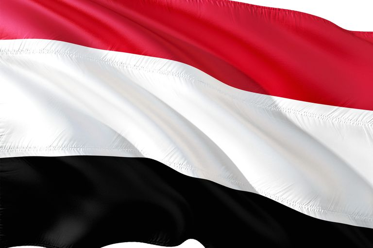 Flag of Yemen blowing in the breeze