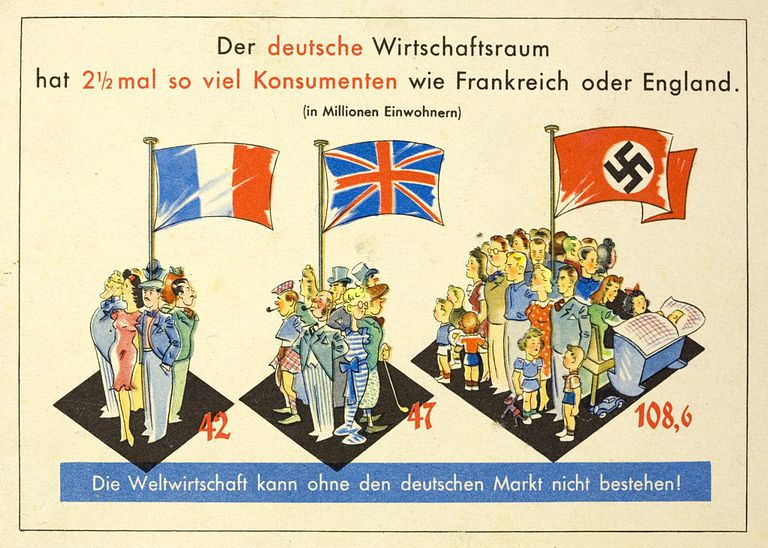 German propaganda card designed to justify the expansion of Germany on the basis of Lebensraum.