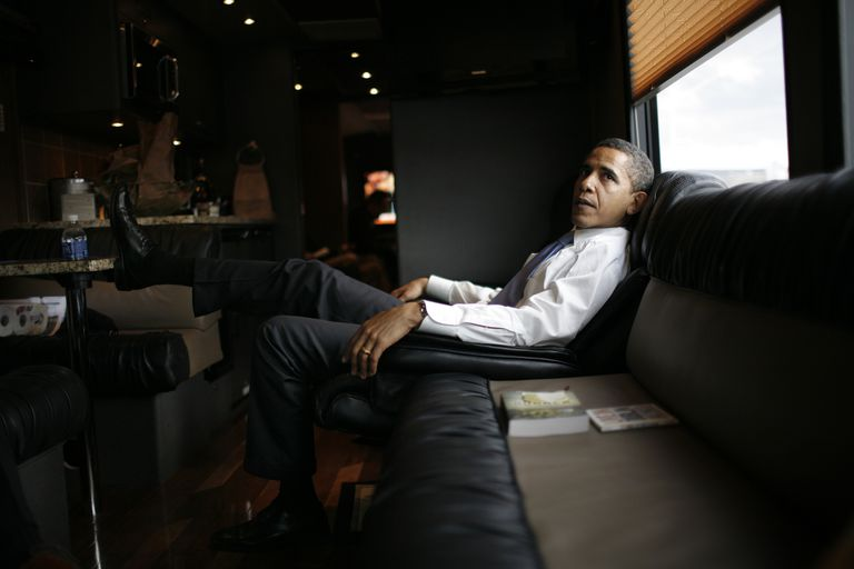 Barak Obama relaxing in his 2008 campaign tour bus